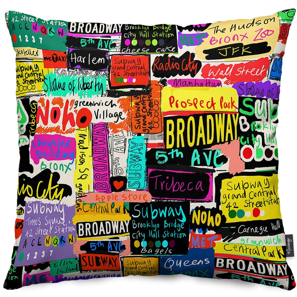 NYC Words Throw Pillow
