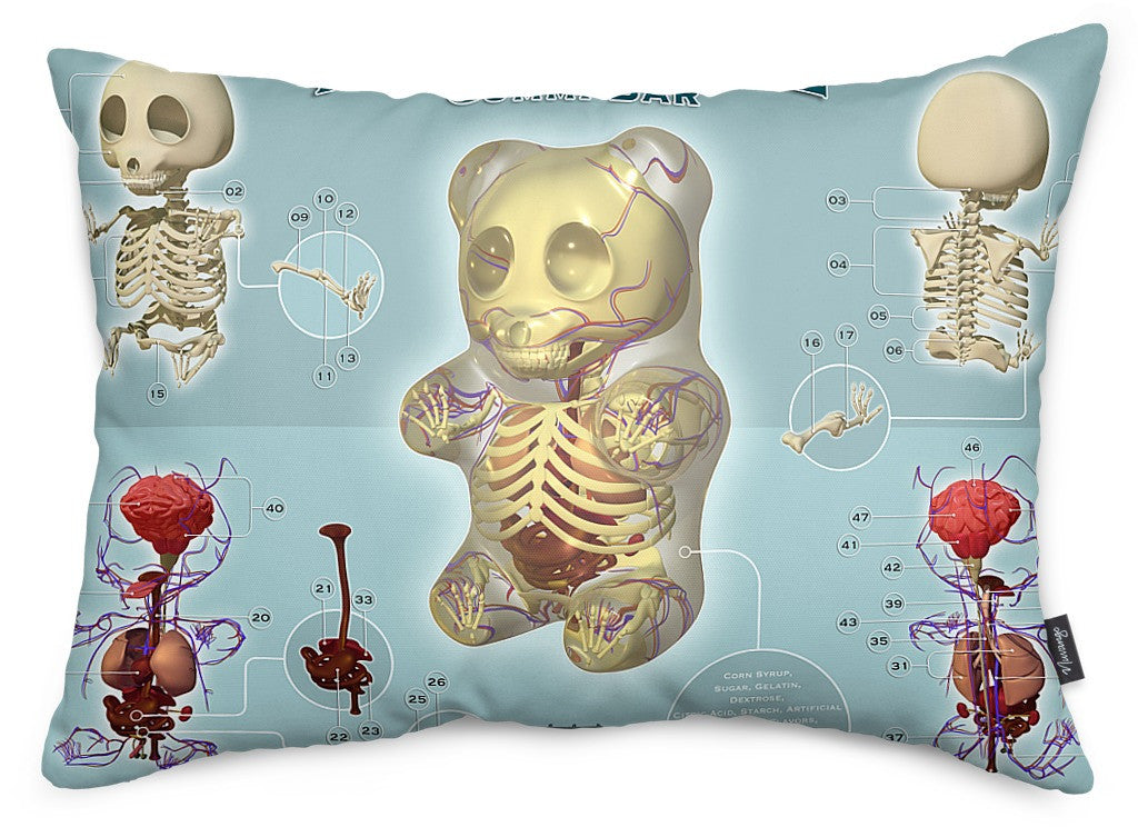 Gummi Anatomie Throw Pillow
