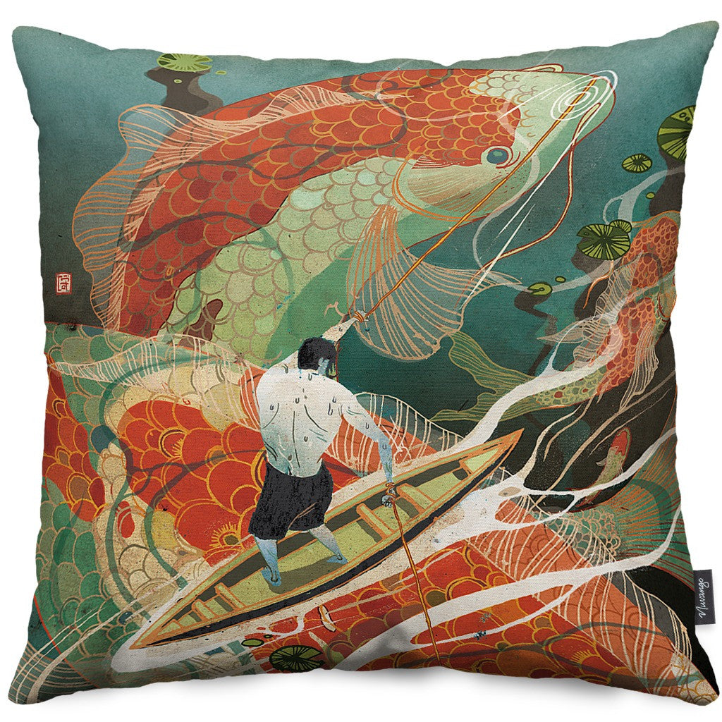 Koi Dance Throw Pillow