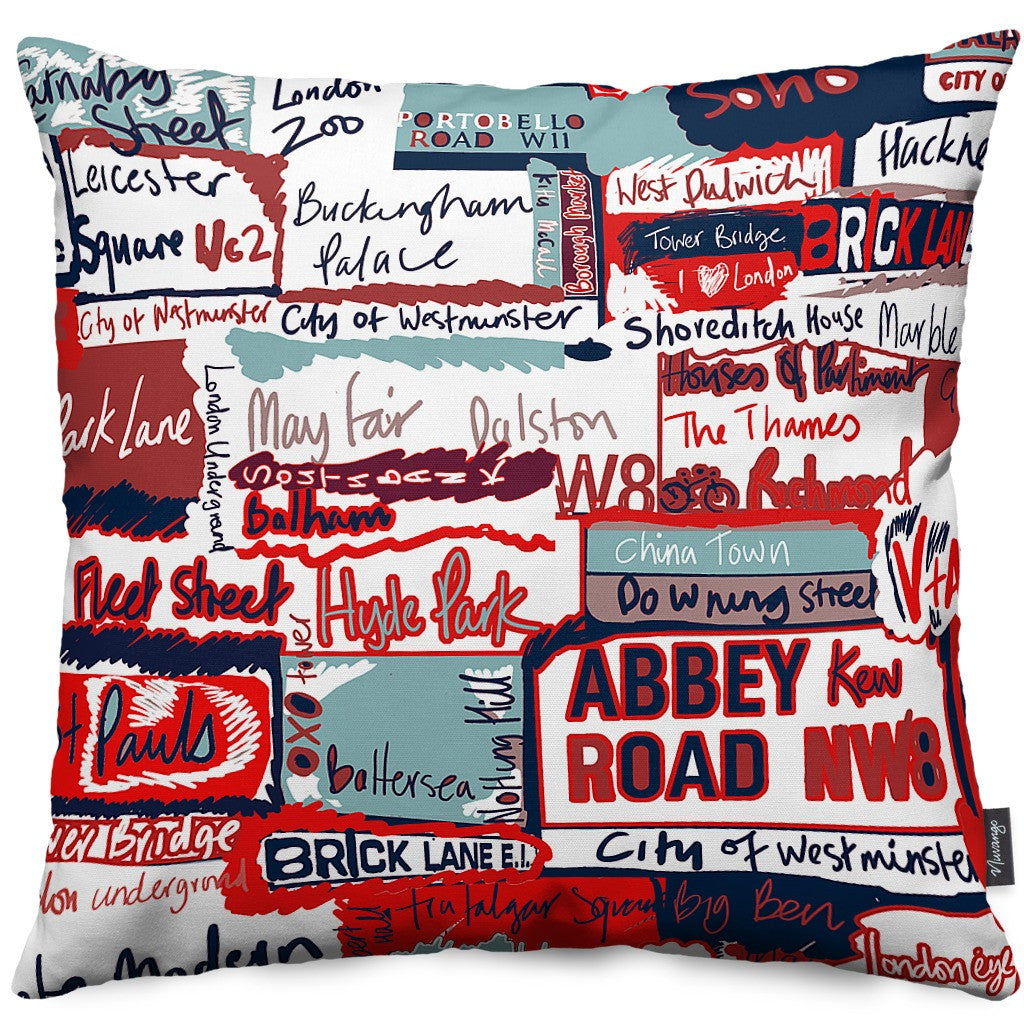 London Words Throw Pillow