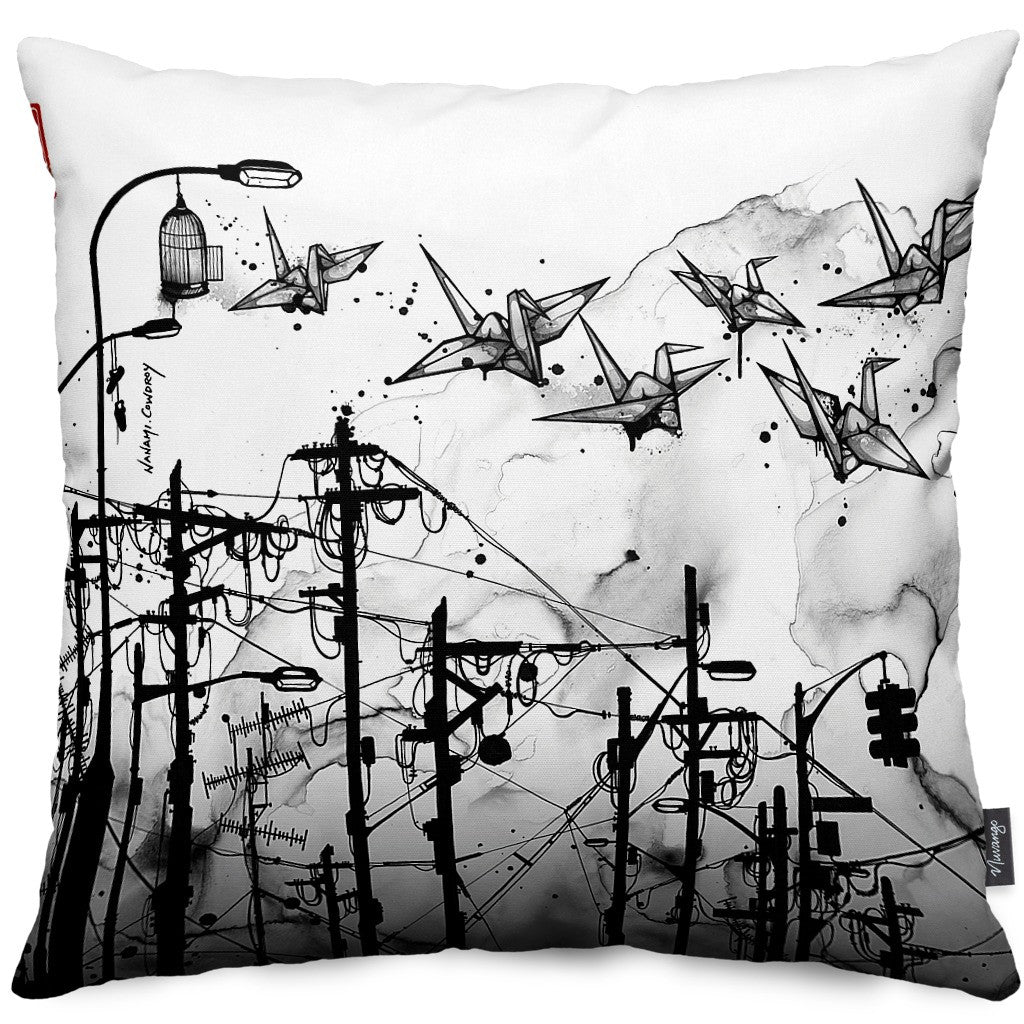 Cable Cranes Throw Pillow