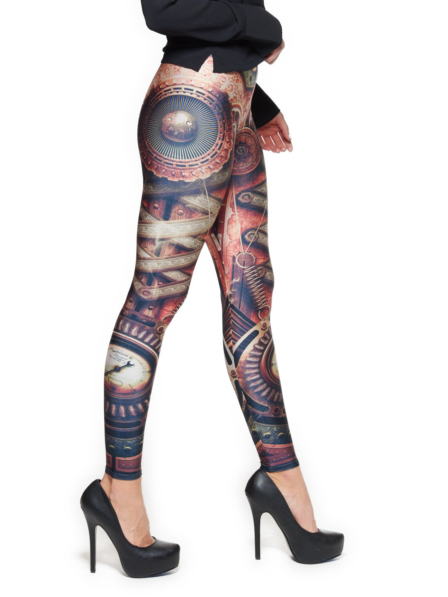 Steampunk Motherboard Queen West Leggings - Nuvango  - 2