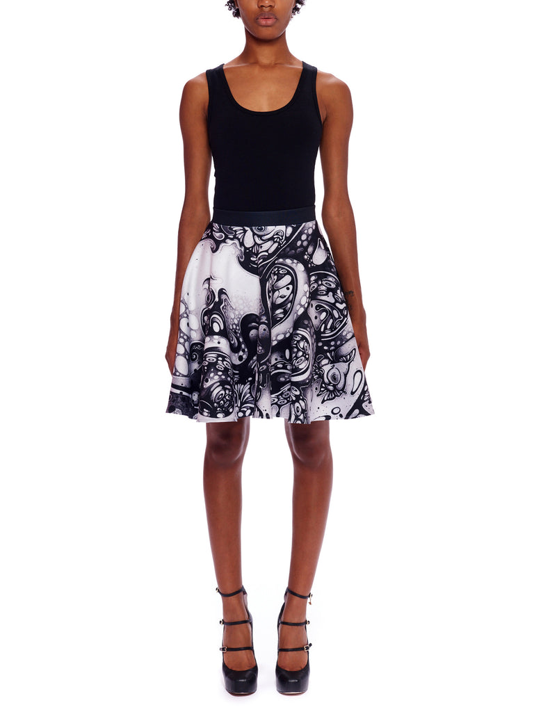 A Curious Embrace Scuba Circle Skirt