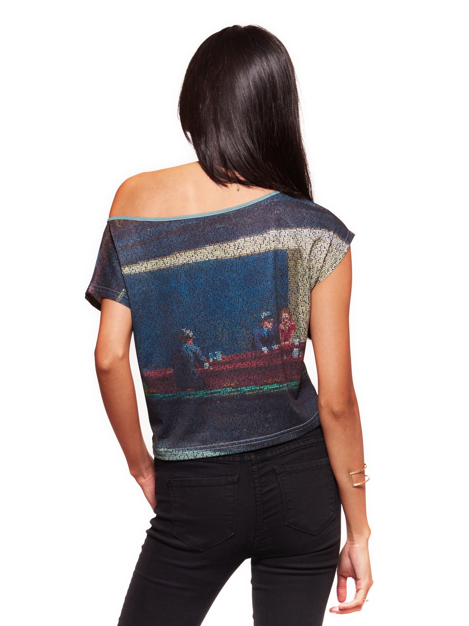 Tom Nighthawks (Edward Hopper/Suzanne Vega mash up) Women's Crop Top - Nuvango  - 2