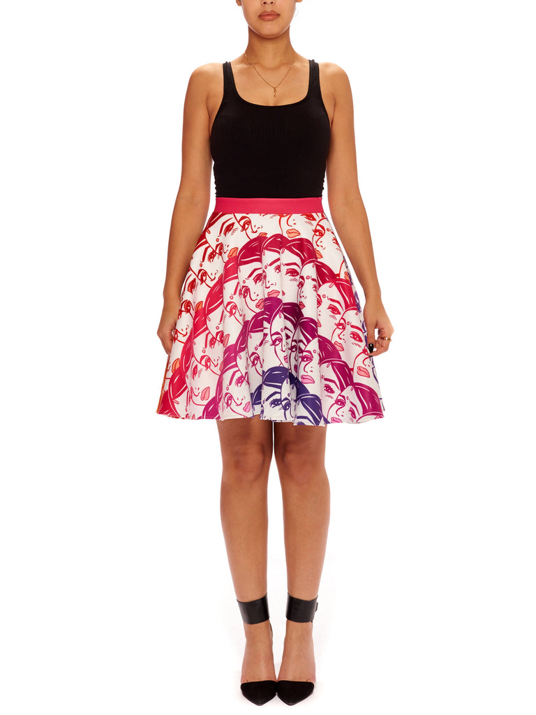 Rainbow Death Stare Scuba Circle Skirt