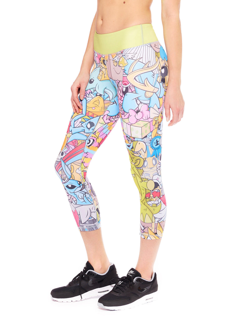 Creature Collage Activewear Crop Leggings