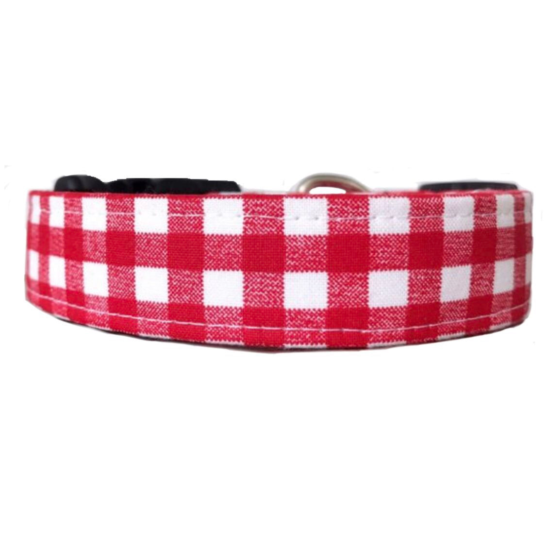 Red Gingham Dog Collar | Reese - Uptown Pet Wear