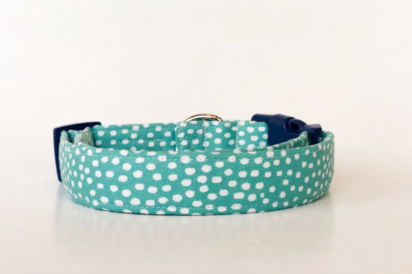 Teal Polka Dot Dog Collar | Briar - Uptown Pet Wear