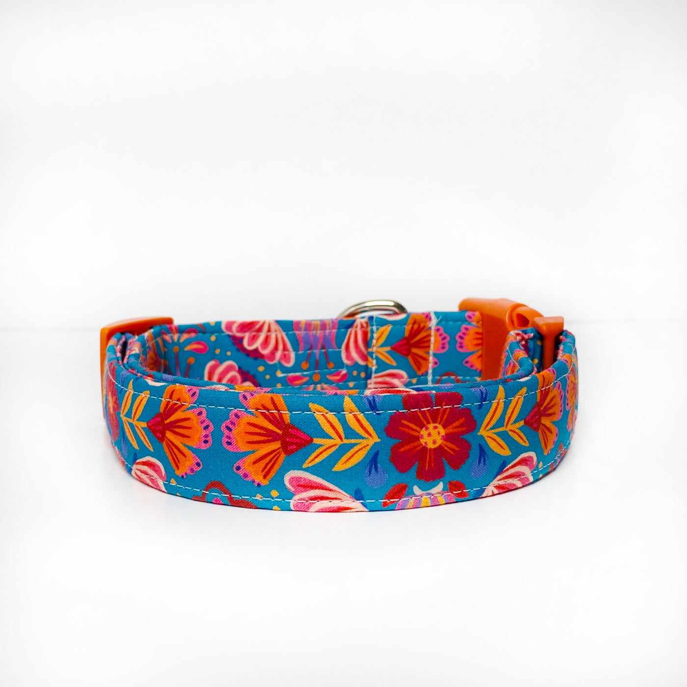 Red and Teal Floral Dog Collar