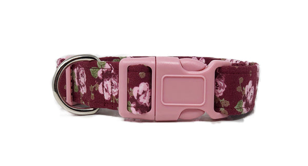 Floral Vintage Inspired Dog Handmade Collar in Burgundy and Pink | Mary - Uptown Pet Wear