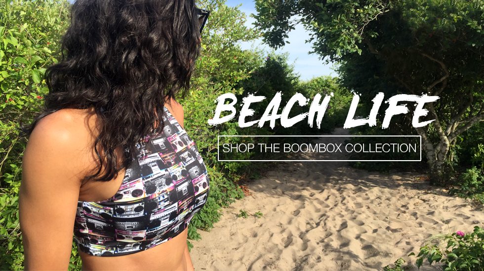 The Graffinis Boombox Bikini Collection includes Crop Tops, Cheeky Bikinis and Thongs.