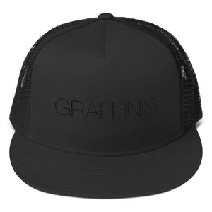 Black Embroidered Graffinis Trucker Hat - Graffinis Swimwear