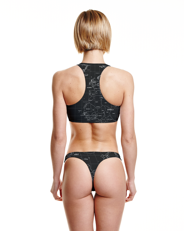 Seamless Thong Bottom in World Map Print - Graffinis