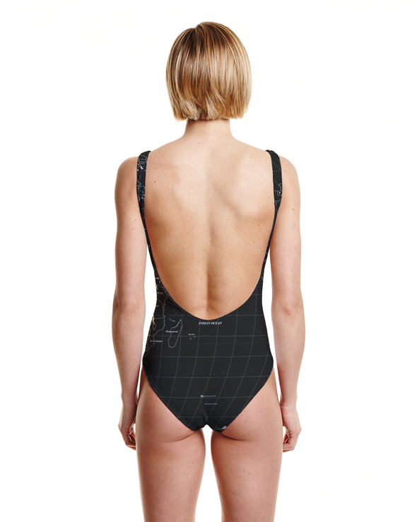 World Map High Cut One Piece Swimsuit Back