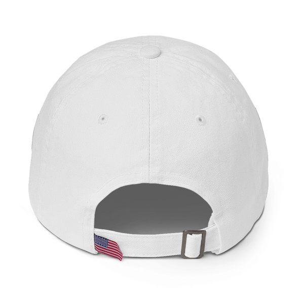 White Graffinis Dad Hat with Black Embroidery Back
