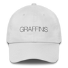 White Graffinis Dad Hat with Black Embroidery Front