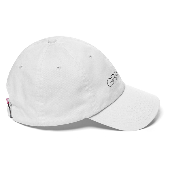 White Graffinis Dad Hat with Black Embroidery Side