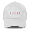 White Graffinis Dad Hat with Pink Embroidery Front