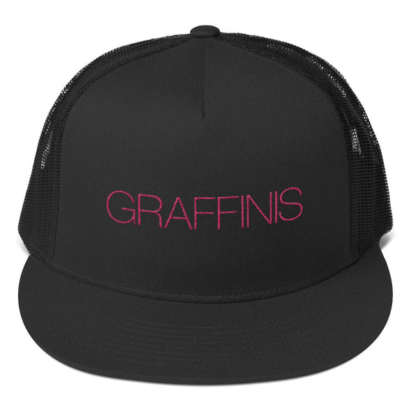 Black Graffinis Trucker Hat with Pink Embroidery Front