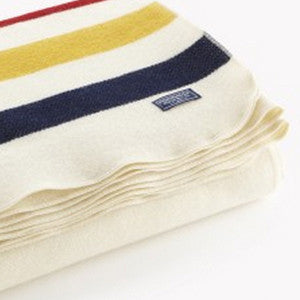 faribault woolen mill co. revival stripe wool throw - white multi - Fresh Laundry Co.