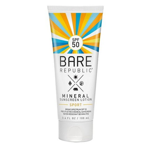 bare republic mineral spf 50 sport sunscreen lotion