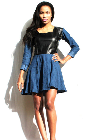 A. Denim Leather Dress - TONI! BY TONI KHUMALO