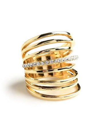 gold multi look stack ring