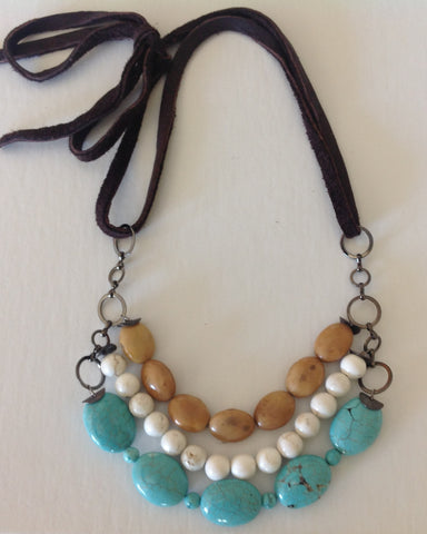 Turquoise Tripple Necklace with soft leather strap