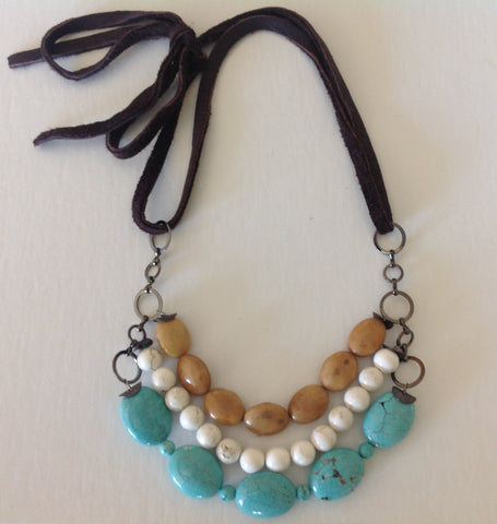 Turquoise triple necklace with soft leather strap