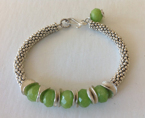 Green Facet Stone Bracelet