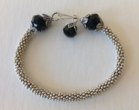 Black Facet Stone Bracelet