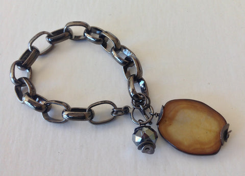 Gunmetal Mother of Pearl Drop Bracelet
