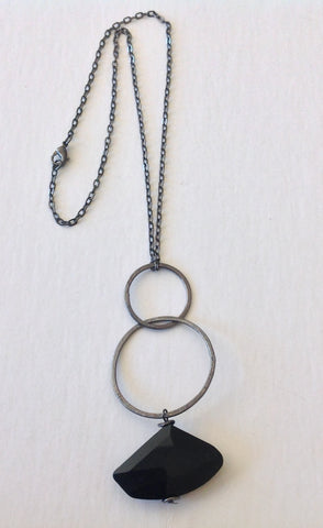 Modern Facet Black Stone Necklace