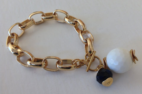 Gold Link White and Black Drop Bracelet