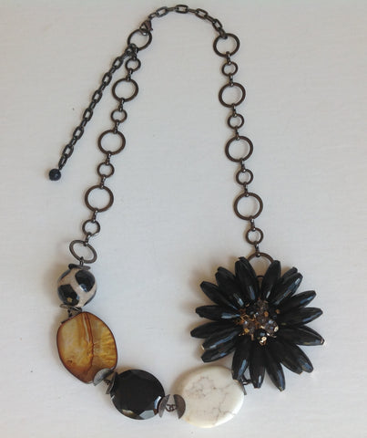 Black flower with multi stones