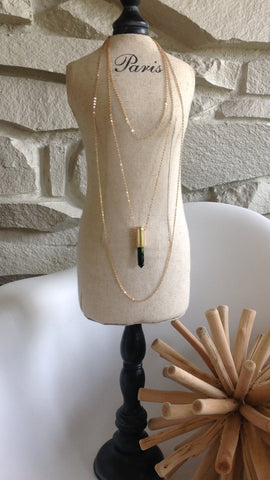 Black Quartz triple gold Chain