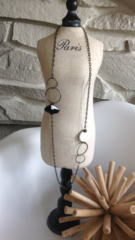 Black Facet Stone With White Turquoise Long Necklace