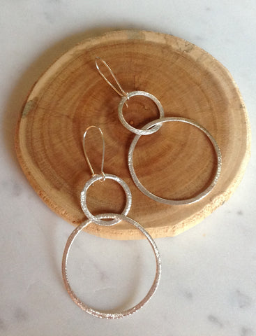 Brushed Silver Double Loop Earrings
