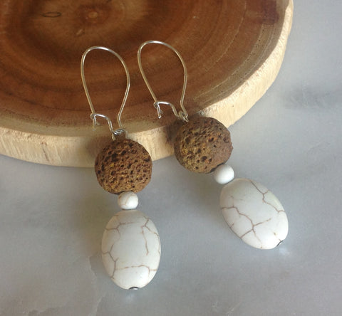 Lava Stone White Turq. Earrings
