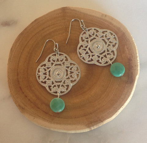 Green Moss Opal Silver Filigree Earrings