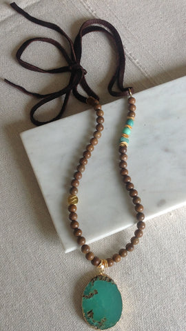 Wood Jasper and Jade Moss Opal Mix Stone with Soft Leather