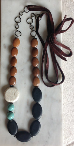 Jasper and magnesite with soft leather tie