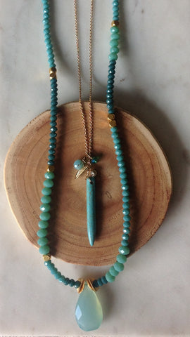 Long Turquoise Drop with Leaf and stones necklace