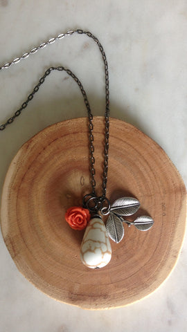 Orange Rose White Stone Pewter Leaf Necklace