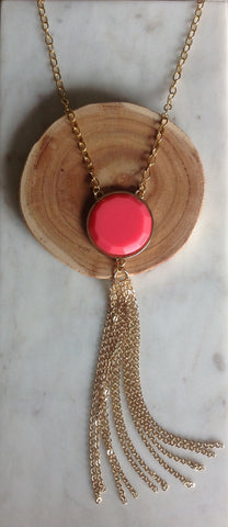 Hot pink tassel necklace