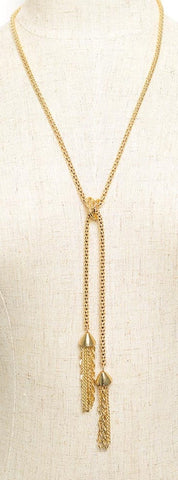 Gold tassel long necklace