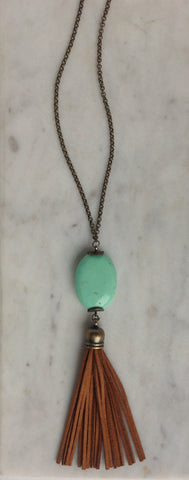 Tiffany blue stone with suede tassel necklace