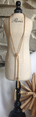 Gold mesh tassel necklace adjustable length