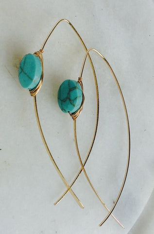 Turquoise stone with gold wire wrap
