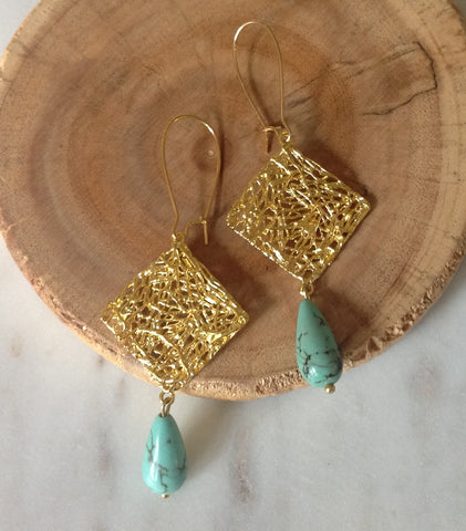 Birds nest earring with turquoise drop
